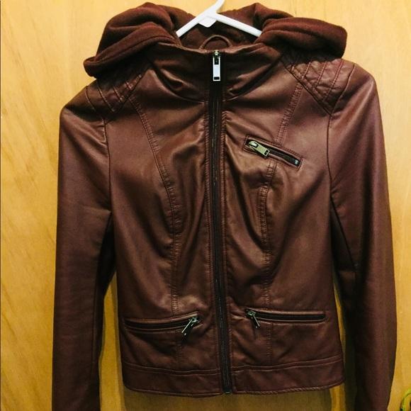 American Rag Jackets & Blazers - Maroon Faux Leather American Rag Moto Jacket XXS